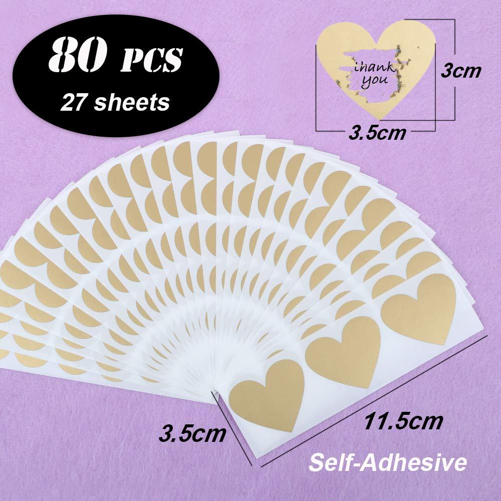 FLOFIA 80pz Gratta e Vinci Adesivi Cuore Personalizzato Etichette Adesive Scratch Sticker per Matrimonio Biglietti d/'Inviti Auguri 30x35mm Rosso