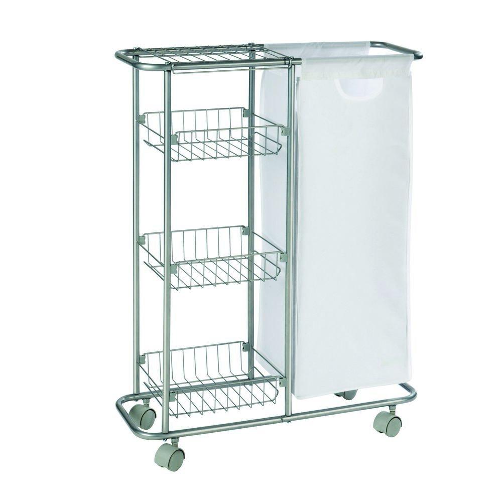 WENKO 12100100 Collecting trolley Slim - 3 tiers, detachable bag , capacity 7.4 gal, Powder-coated metal, 7.9 x 22.8 x 31.5 inch, Grey