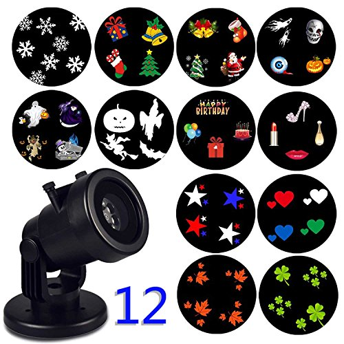 Christmas Snowflake Decoration Outdoor Projector Light,Holiday Garden Light,Rotating Project Lamp,LED Landscape Moving Lights with 12 pcs Switchable Slides for Outdoor & Indoor