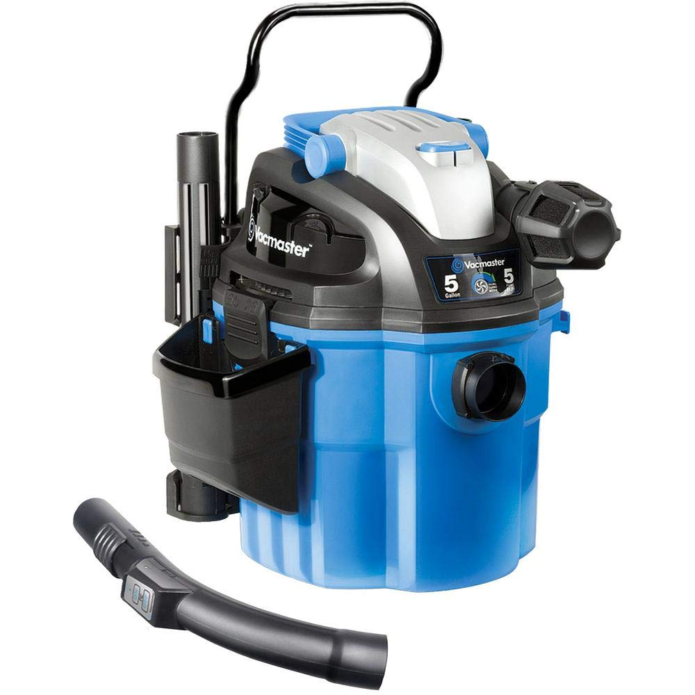 """Vacmaster Mountable Wet/Dry Garage Vac with Remote Control, 5 Gallon, 5 HP 1-7/8"""" Hose Wall Mount (VWM510), Blue"""