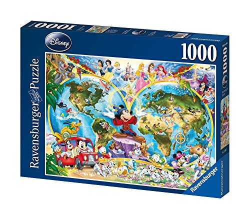 Disney World Map 1000 Piece Jigsaw Puzzle Featuring the entire Disney Family: Disney Princess, Donald Duck, Mickey Mouse, Peter Pan and many more!