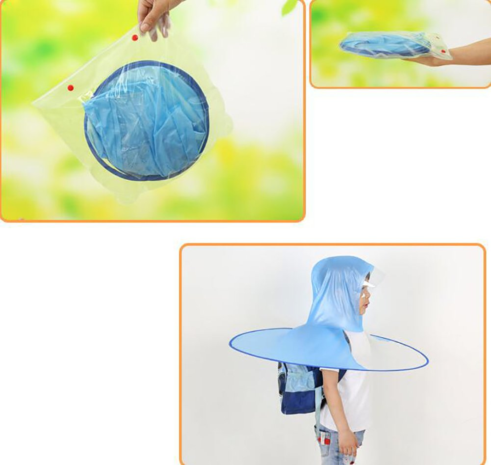 ZJM-umbrellas Head-mounted Kids Raincoat Summer Kindergarten Novel Waterproof Waterproof Children Ventilate (Color : Blue, Size : S) by ZJM-umbrellas (Image #3)