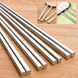 Dealglad® 5pairs Stainless steel tableware thick household square chopsticks