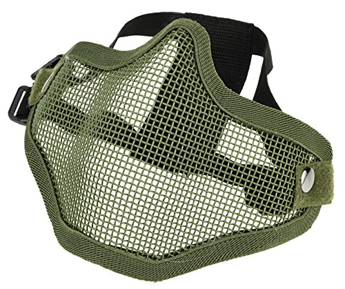 ArcEnCiel Tactical Airsoft Steel Metal Mesh Half Face Mask (Army Green)