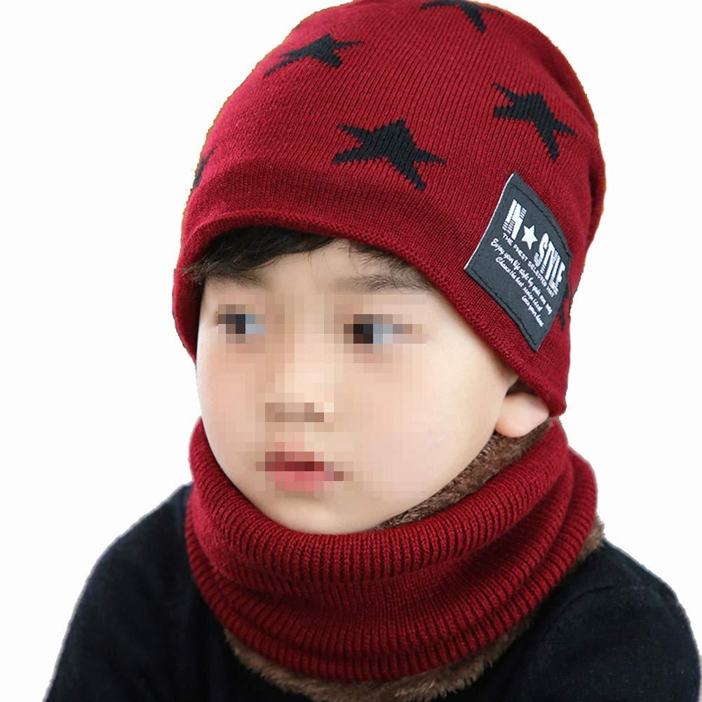 Amorar Cappello per Bambini Invernale per Bambina Cappello Lavorato a Maglia con Cappuccio Caldo Sciarpa a Tubo per Cuffia con Fodera in Pile per 4-12 Anni