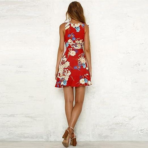 Vestidos mujer verano, Amlaiworld Moda Mujer Espaguetis Correa Impresión floral Vestir Mini vestido playa skater: Amazon.es: Ropa y accesorios
