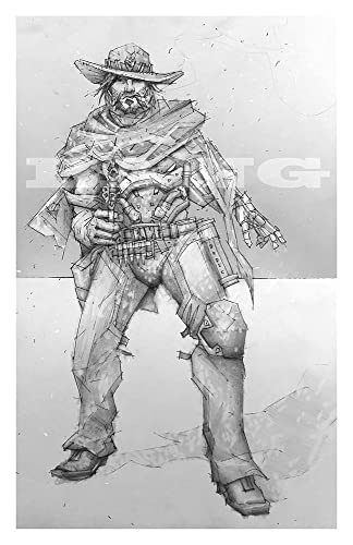 Mccree giclee print of pencil drawing of offense class character from overwatch video game