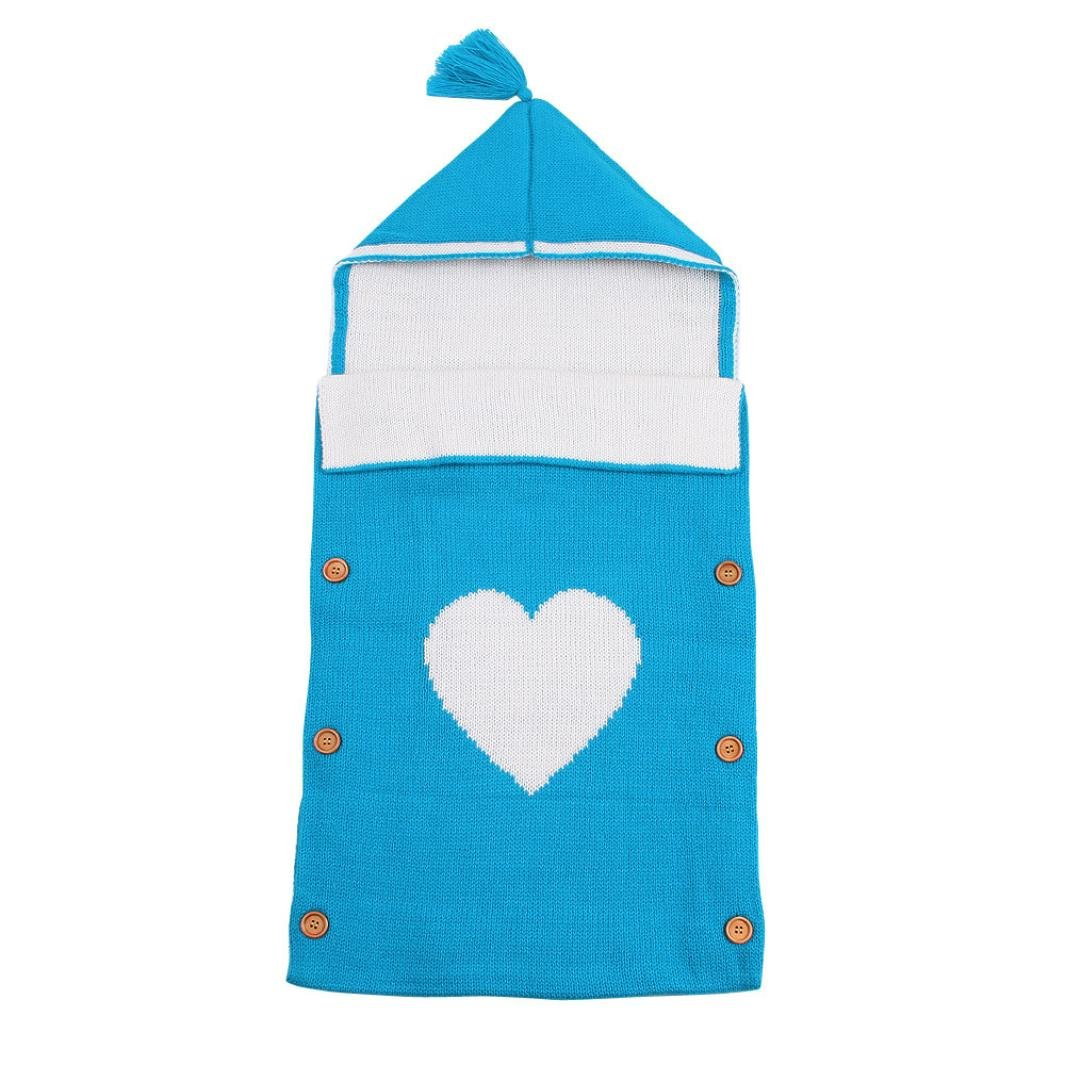 LNGRY Baby Cute Blanket Swaddle Sleeping Bag Toddler Sleep Sack Stroller Wrap (Blue)