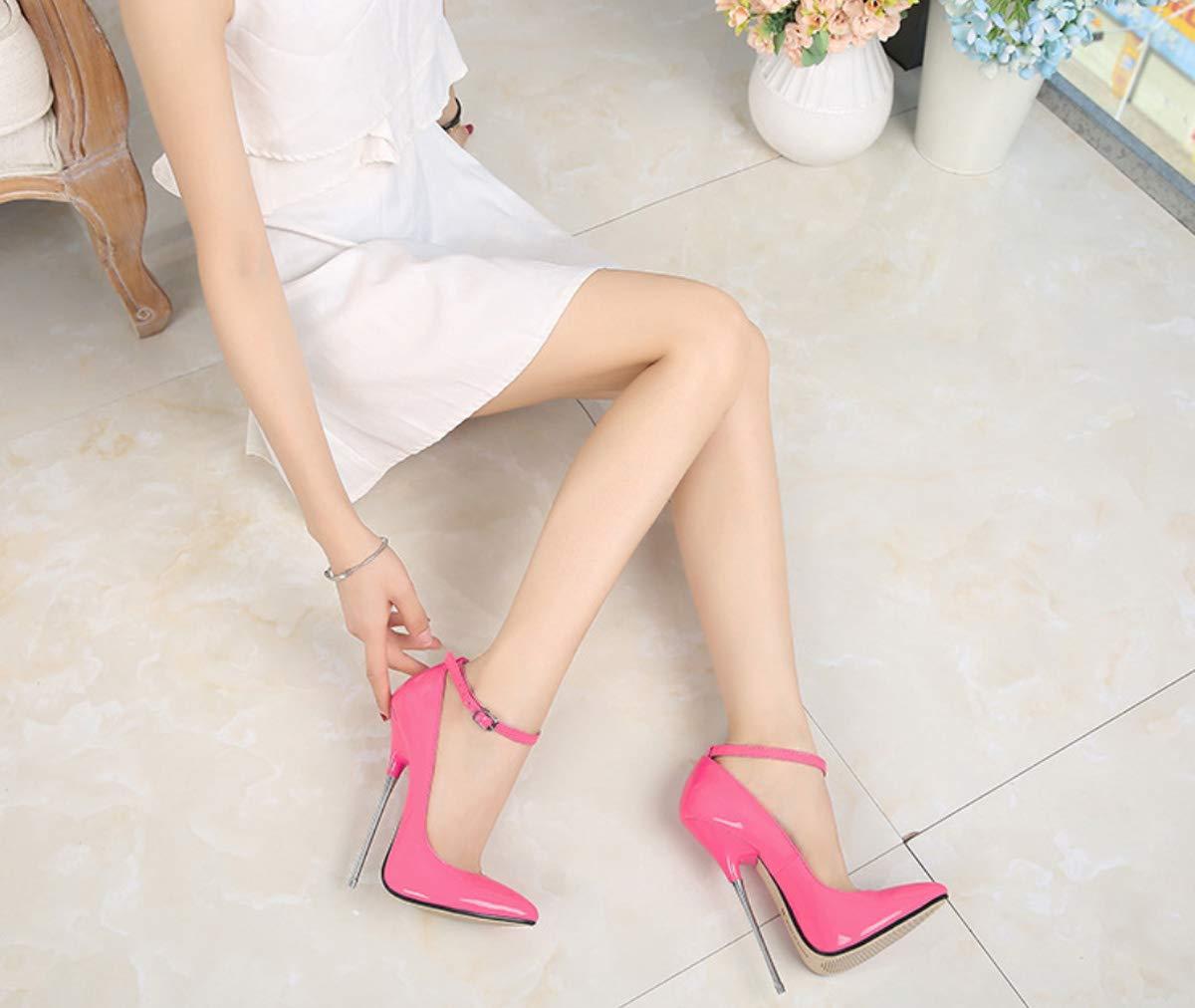 DANDANJIE Damen Super High High High Heel Schuhe Mode Knöchelriemen Stiletto Absatz Spitze Hochzeit Schuhe 622d99