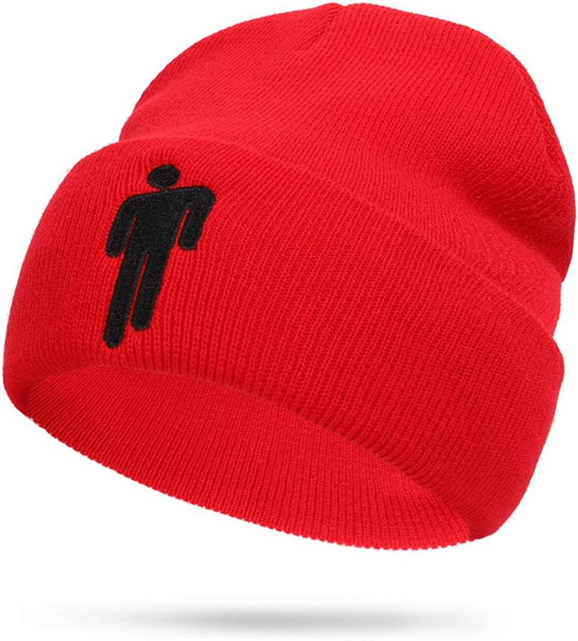 Red Billie Eilish Hat Beanie Knit Hat Unisex Embroidered Logo Knitted Cap