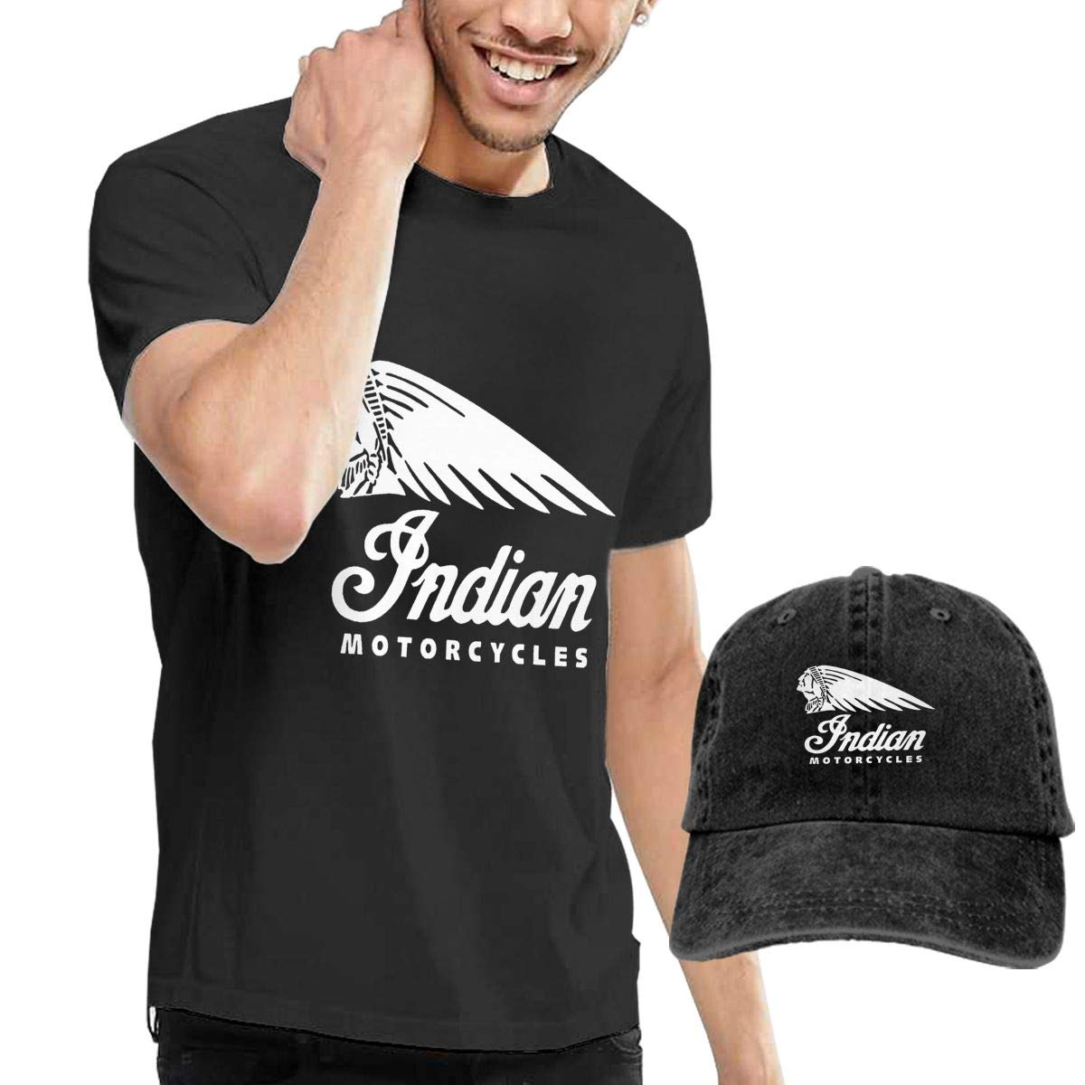UESEU Indian Motorcycle Logo Top Tee and Indian Motorcycle Logo Strapback Cap for Adult