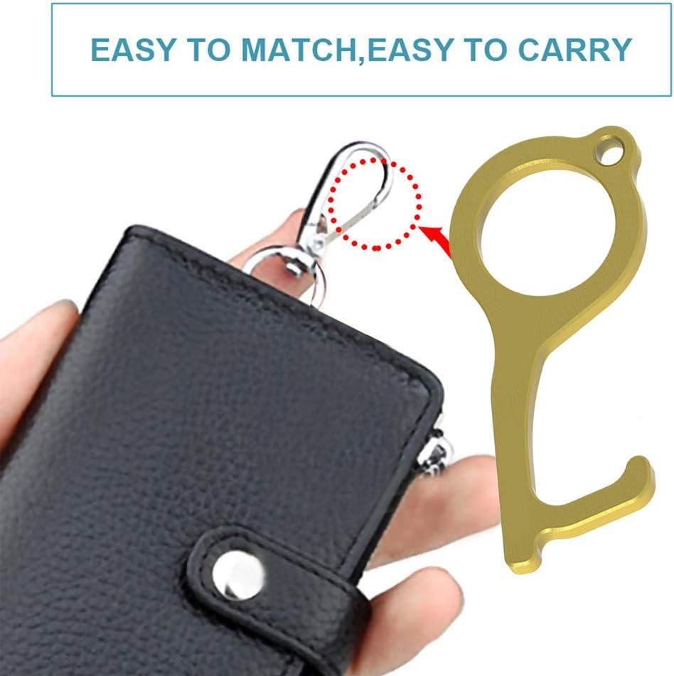 Nolonger Handhold Non-Contact Door Opener /& Stylus Keychain Tool Hygiene Hand Brass Door Opener Closer No-Touch