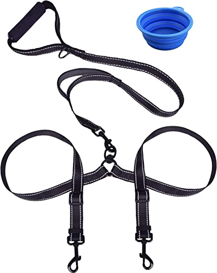 Dog Leash Coupler No Tangle Double Dog Dual Reflective Adjustable Splitter Lead