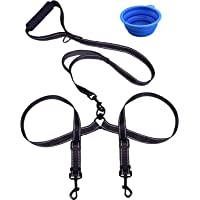 Dual Dog Leash, Double Dog Leash,360° Swivel No Tangle Double Dog Walking & Training Leash, Comfortable Shock Absorbing Reflective Bungee Two Dogs Waste Bag Dispenser Dog Training clicker