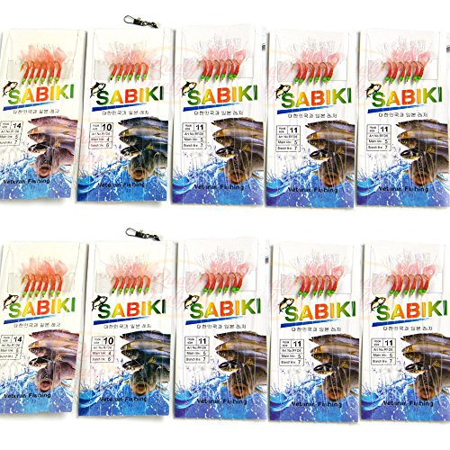 gs Assorted 10 Packs Freshwater/Saltwater Sea Fishing Rigs, Bait Rigs with Ball Bearing Swivel for Bass Trout Walleye Red Fish Fishing Bait Rigs ()