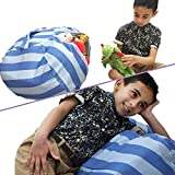 Stuffed Animal Storage Bean Bag Chair | Perfect Storage Solution For Extra Blankets / Pillows / Covers / Towels / Clothes | by Wonderfix (Blue)