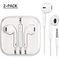 HUIZIER Deux Packs écouteurs/Oreillettes/écouteurs avec Microphone stéréo et télécommande pour IP Pad 6/5/4 et Autres Smartphones Android compatibles avec Les écouteurs de 3,5 mm