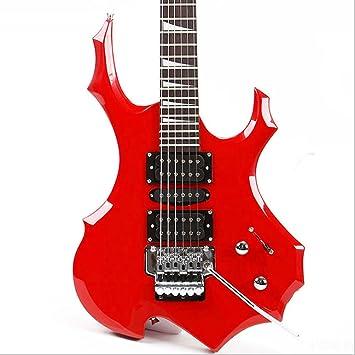 Genuino blanco azul rojo y negro llama guitarra eléctrica doble batido en forma de juego de guitarra eléctrica sintonizador (Color : Rojo) : Amazon.es: ...