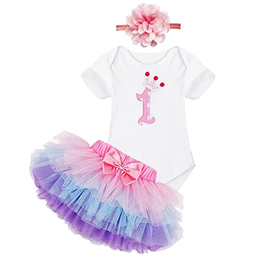 84b5080df056 Amazon.com  FEESHOW Baby Girls My First 1st Birthday Outfit Romper ...