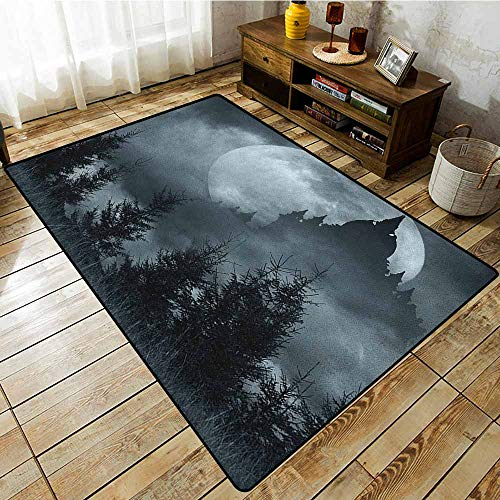 Classroom Rug,Halloween,Magic Castle Silhouette Over Full Moon Night Fantasy Landscape Scary Forest,Extra Large Rug Grey Pale Grey]()