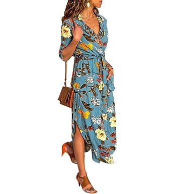 b7c14fc7210 Aswinfon Robe Longue Femme Fleuri Manche Longue avec Poche Robe Maxi Fluide  Chic Automne 2018  Amazon.fr  Vêtements et accessoires