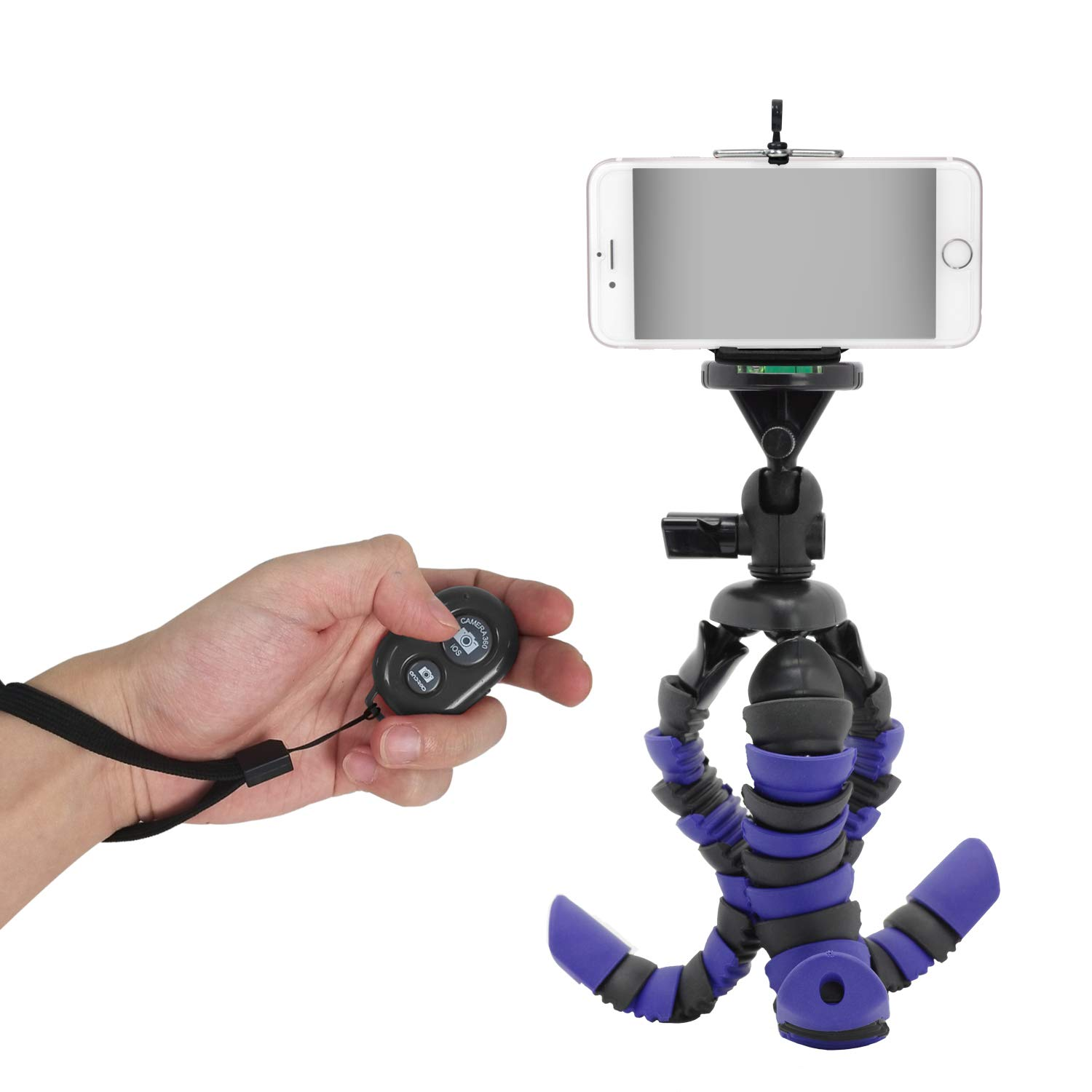 Julius Studio 12'' Flexible Octopus Mini Travel Tripod for Cameras and Camcorders with Cell Phone Holder Clip Adapter and Black Wireless Bluetooth Remote Control Shutter, JSAG441