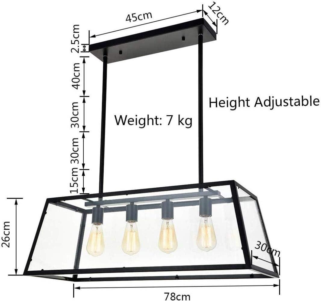 Cocina con isla luces Suspensión 4 mate negro de la lámpara luz marco industrial moderna con luces claras de techo de cristal de la casa, mesa de billar lámpara, comedor, villas, club,