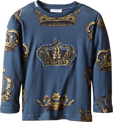 [Dolce & Gabbana Kids Baby Boy's Crown Print Long Sleeve T-Shirt (Toddler/Little Kids) Green/Crown Print T-Shirt] (Dolce & Gabbana Long Sleeve Dress Shirt)