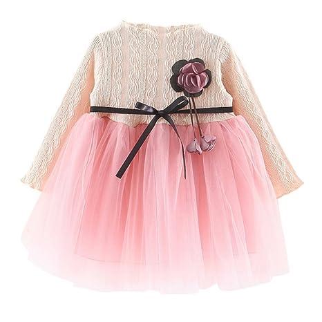 Moresave Vestido de fiesta de vestir de princesa de encaje de Tulle de manga larga vestido