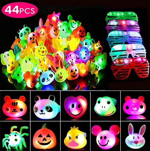 44 Pcs Party Favors for Kids/Adults, Prizes Flashing LED Light Up Jelly Rings Halloween Birthday Gifts Glow in The Dark Party Supplies Rings Glasses for Boys/Girls - 11 Color 11 ()