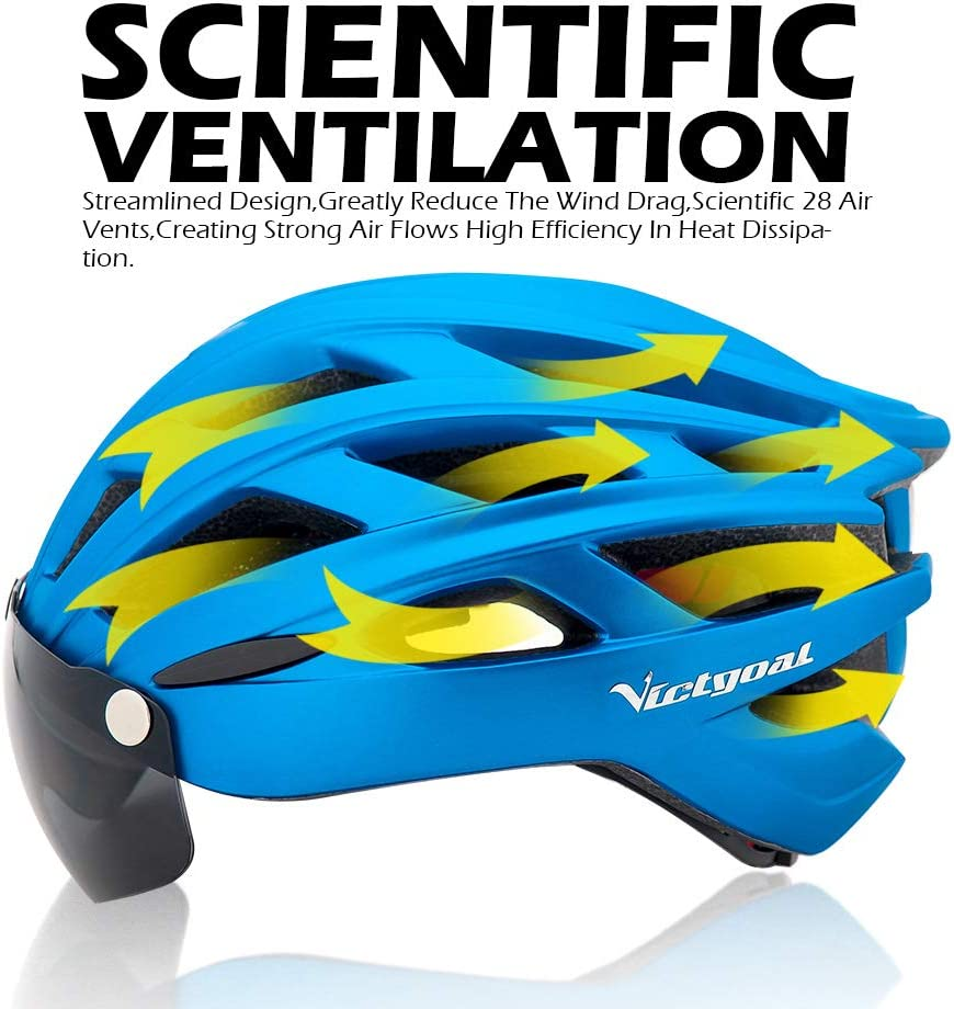VICTGOAL Cycle Bike Helmet with Detachable Magnetic Goggles Visor Shield for Women Men Cycling Mountain /& Road Bicycle Helmets Adjustable Adult Safety Protection and Breathable