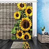 NYMB Plants Theme Sunflower on the Wooden 69X70in Mildew Resistant Polyester Fabric Shower Curtain Suit With 40x60cm Flannel Non-Slip Floor Mat Bath Rug (Multi18)