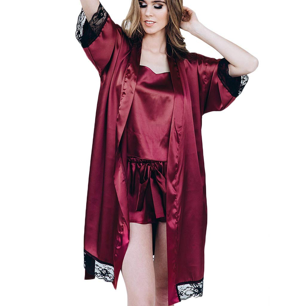 Psunrise Pijamas Fashion Comfy Women Black Simulation Silk Satin Half Sleeve Kimono Robe Lace Lingerie Bodydoll Sleepwear(L, Wine)