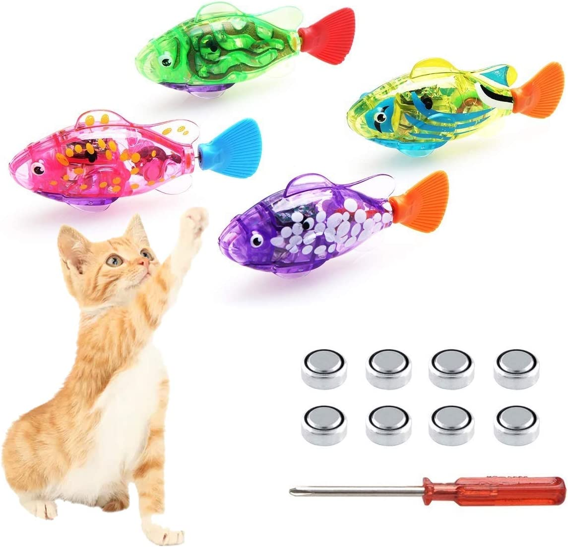 Swimming Robot Fish for Cats, Interactive Cat Fish Toys Fish Tank Toy with  LED Light Cat Toy Dog Toy Swimming Bath Plastic Fish Toy, Cat Exercise to  Stimulate Your Pet's Hunter Instincts (