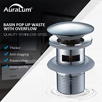 Auralum Válvula Desagüe Pop-up Tubo Válvula Atomizador Drain Stopper Pop-Up de Residuos Válvula De Drenaje Desbordamiento per lavabo Baño: Amazon.es: Hogar