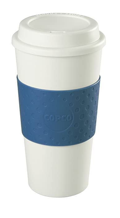 Copco 2510-9966 Acadia Double Wall Insulated Travel Mug with Non-Slip Sleeve, 16-Ounce, Blue