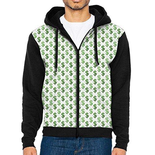 Dollar Sign Fashion Zipper Long Sleeve Hooded Pocket Sweatshirt Coat Jacket For Men Teens Sports