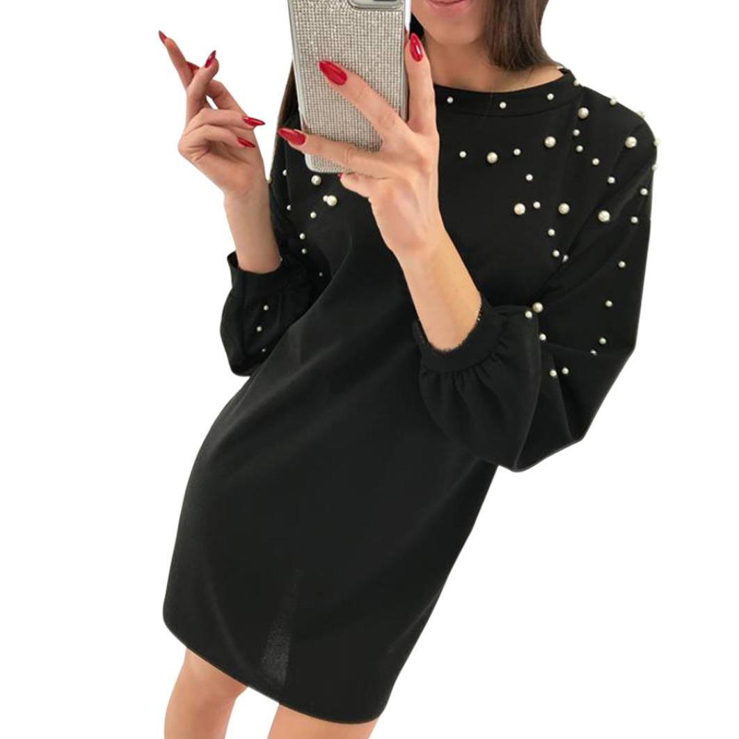 Overmal Fashion Womens Casual O-Neck Solid Beading Long Sleeve Ladies Loose Mini Dress