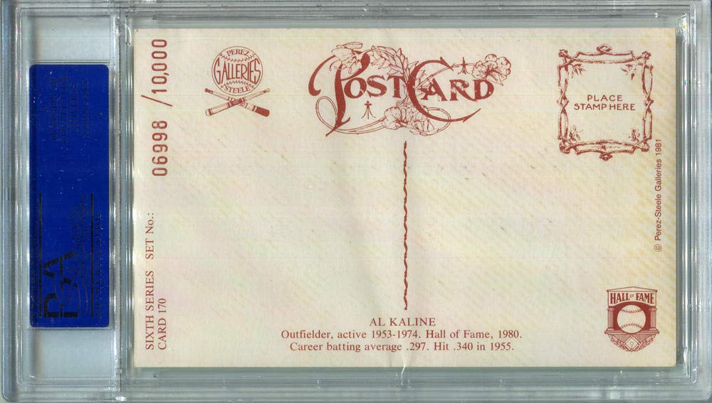1981 Al Kaline Signed Perez Steele Postcard #170. PSA Authentic