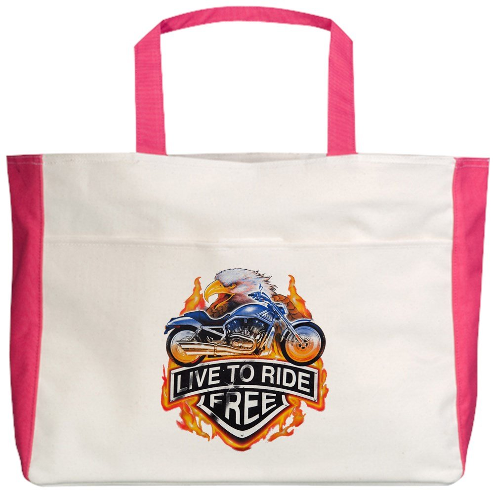 Royal Lion Beach Tote (2-Sided) Live To Ride Free Eagle Motorcycle - Fuchsia