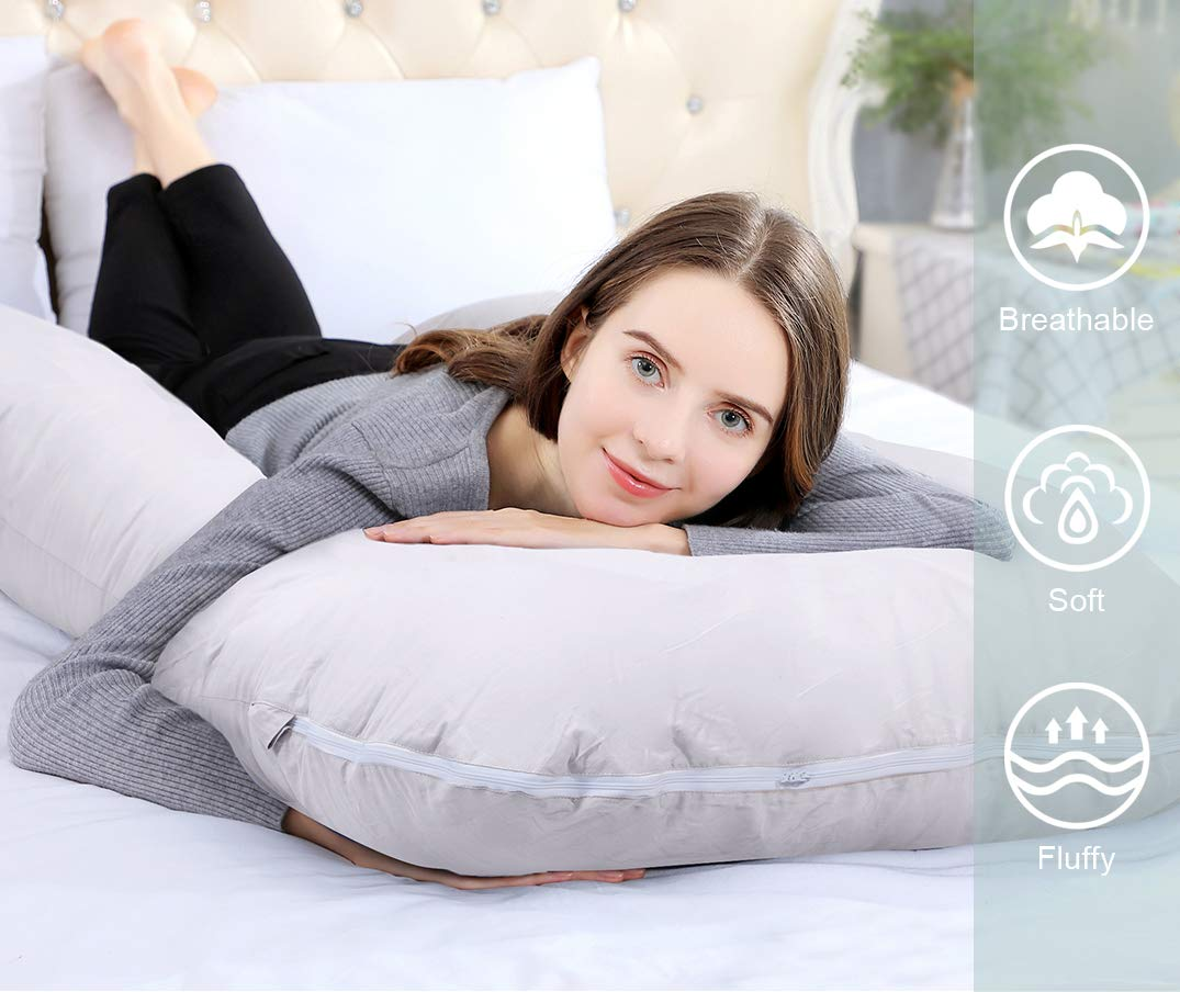 INSEN Full Body Pregnancy Pillow,U Shaped Maternity Pillow for Pregnant Women with Cool Jersey Body Pillow Cover