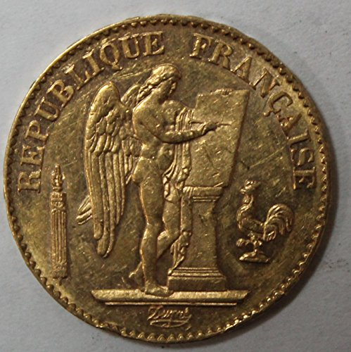 - 1871 FR -1898 French Lcuky Angel Gold Coin 20 Francs AU