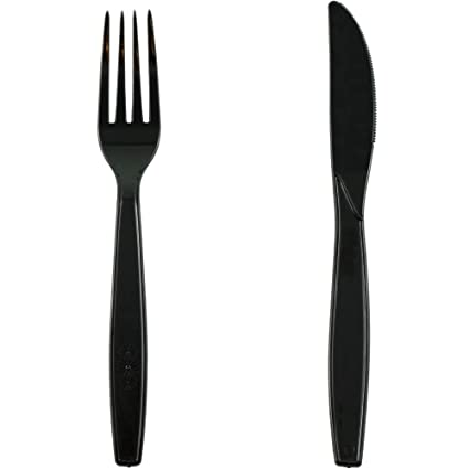 Pritogo - Juego de 150 Cubiertos de plástico, 50 Tenedores, 50 cucharas y 50 Cuchillos Negros, sin BPA, Extra Estable y Grande (19,5 cm), Negro, 50 ...