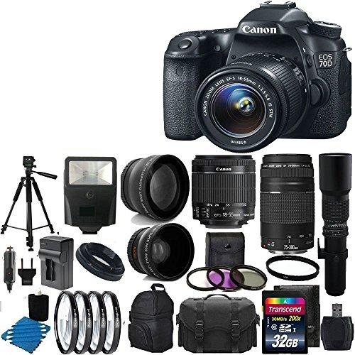 Canon EOS 70D 20.2 MP Digital SLR Camera Bundle with Lens, S