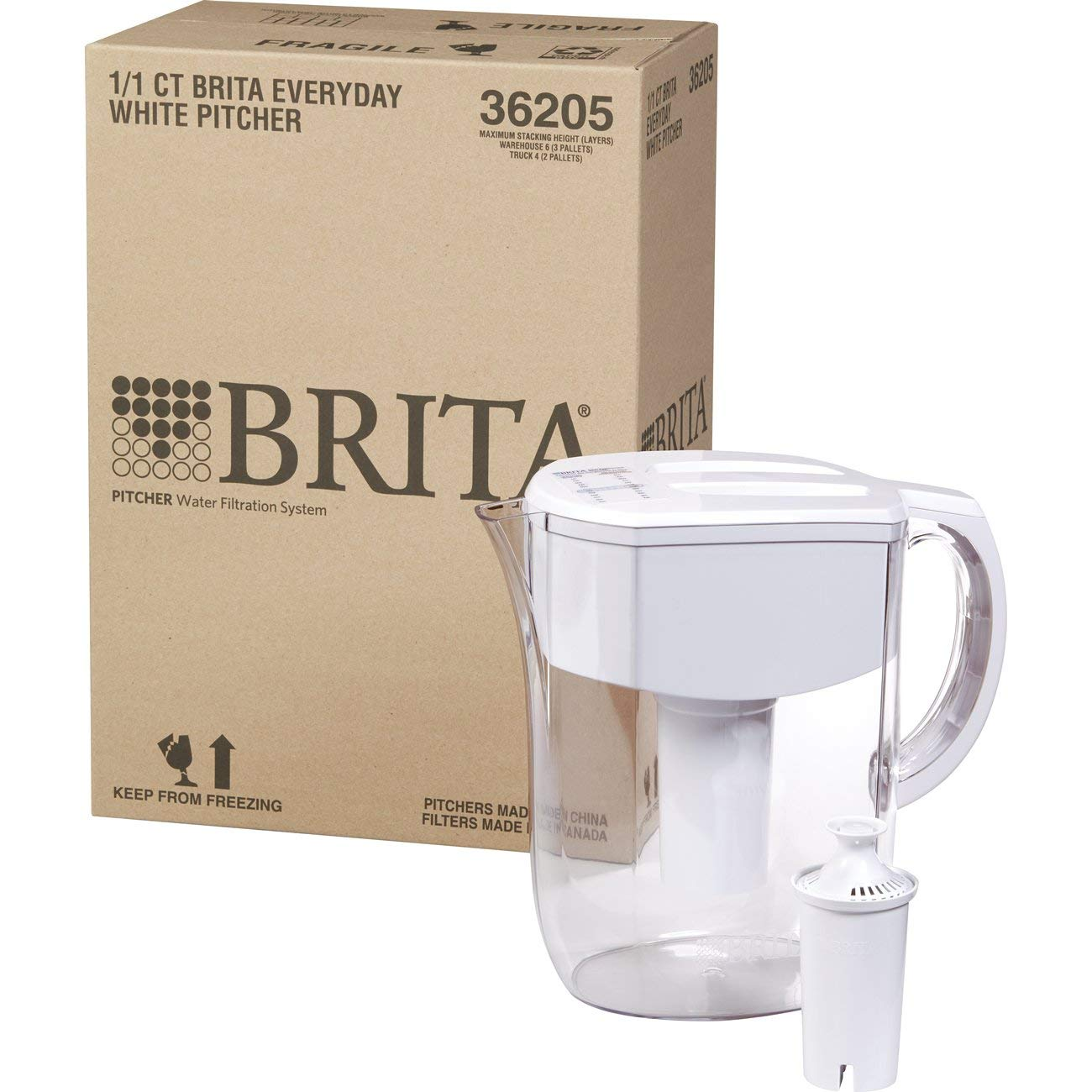 Brita Large 10 Cup Everyday Water Pitcher with Filter - BPA Free - White by Brita (Image #2)