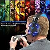 VersionTech G2000 Stereo Gaming Headset for PS4 Xbox One, Bass Over-Ear Headphones with Mic, LED Lights and Volume Control for Laptop, PC, Mac, iPad, Computer, Smartphones, Blue