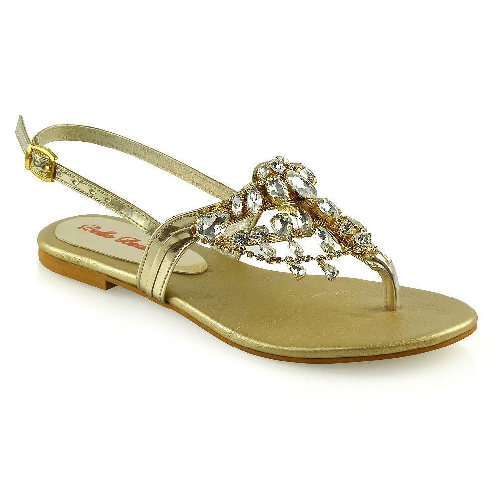 81391f6878f28 Amazon.com   ESSEX GLAM Womens Diamante Flat Sandals Ladies Crystal ...