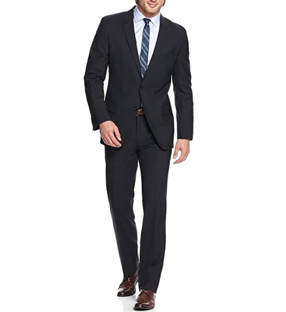 51a4bdca9 Hugo Boss Aamon Hago Dark Blue Solid Two Button Wool New Men's Suit (42R 36W