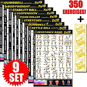 Image of Fitness Planners Eazy How To Multi Pack Workout Exercise Banner Poster Train Endurance, Tone, Build Strength & Muscle Big Home Gym Chart 28 x 20