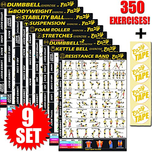 9 Pack Exercise Banner Poster Total Body Workout Fitness Chart Train Endurance, Tone, Build Strength & Muscle Home Gym Chart